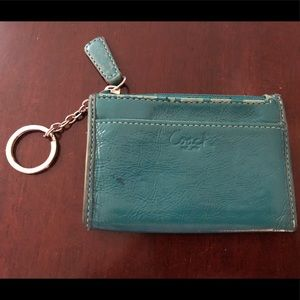 Coach key pouch teal patent leather